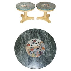 Pair of Walnut Side Tables with Green Marble Tops Inset with Hardstone Flowers