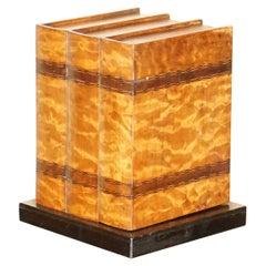 Stunning Faux Books Walnut & Satinwood Smoking Pipe Rack Holder with Drawers