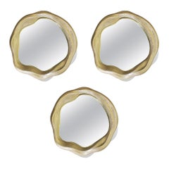 New Set of 3 Mirrors in Resin and Fiberglass Lacquered Color Gold