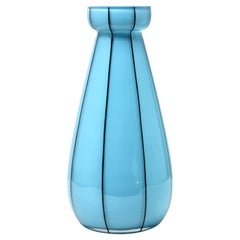 Opaline Glass 'hand painted decorated' Vases in Baby Blue, France
