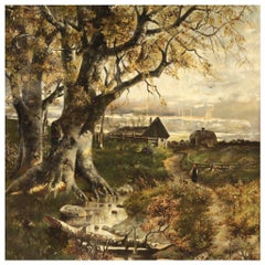 20th Century Oil on Canvas French Landscape Painting, 1950