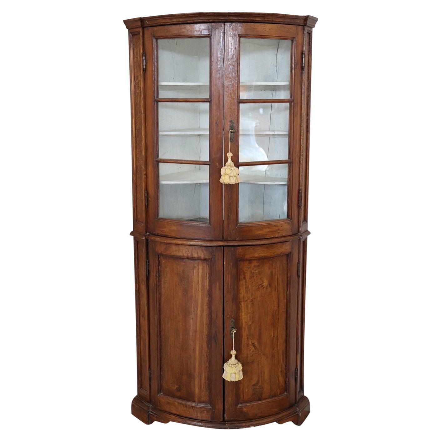 18th Century Italian Antique Corner Cupboard or Corner Cabinet in Poplar Wood