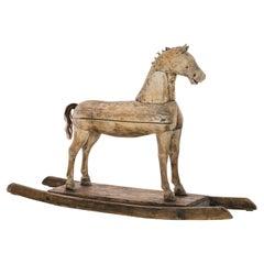 1900s Scandinavian Wooden Rocking Horse