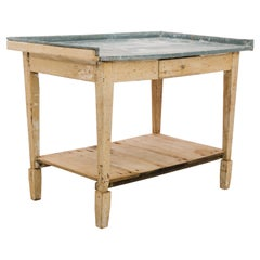 1900s French Zinc Topped Work Table