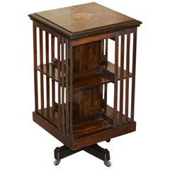 Super Rare Antique Hardwood Revolving Bookcase Book Table Sheraton Revival Inlay