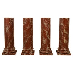 19th Century, Four Italian Wood Columns Lacquered in Faux Rosso di Verona Marble