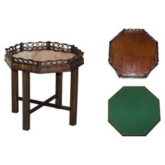Antique Thomas Chippendale Fret Work Carved Card Games Tray Table Removable Top