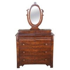 Antique American Empire Crotch Walnut Stepback Dresser Wishbone Mirror Chest