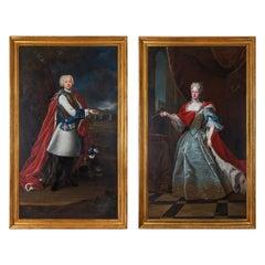 Pair of French 18th Century École Française Oil on Canvas Portraits