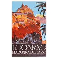 Original Vintage Poster Locarno Madonna Del Sasso Church Switzerland Travel Art