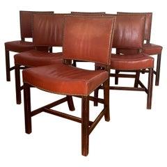 Kaare Klint Red Chairs, Rud Rasmussen, Denmark, 1950s
