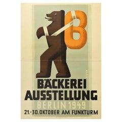Original Vintage Poster Bakery Exhibition Berlin Bear Pretzel Design Funkturm