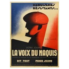 Original Vintage WWII Poster French Resistance Voix Du Maquis Fighters Magazine