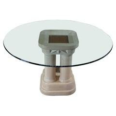 Vintage Henredon Pickled Oak Round Glass Pedestal Dining Center Table