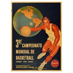 Original Vintage Sport Poster 3rd World Basketball Championship Chile Coca Cola