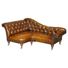 Restored Victorian Howard & Son's Chesterfield Brown Leather Corner Sofa Chaise