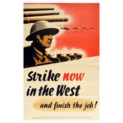 Original Vintage WWII Political Poster Strike Now In The West Communist Party GB