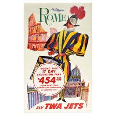 Original Vintage Travel Poster Rome Fly TWA Jets New York Constellation Plane