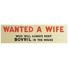 Original Vintage Poster Wanted A Wife Who Will Always Keep Bovril In The House