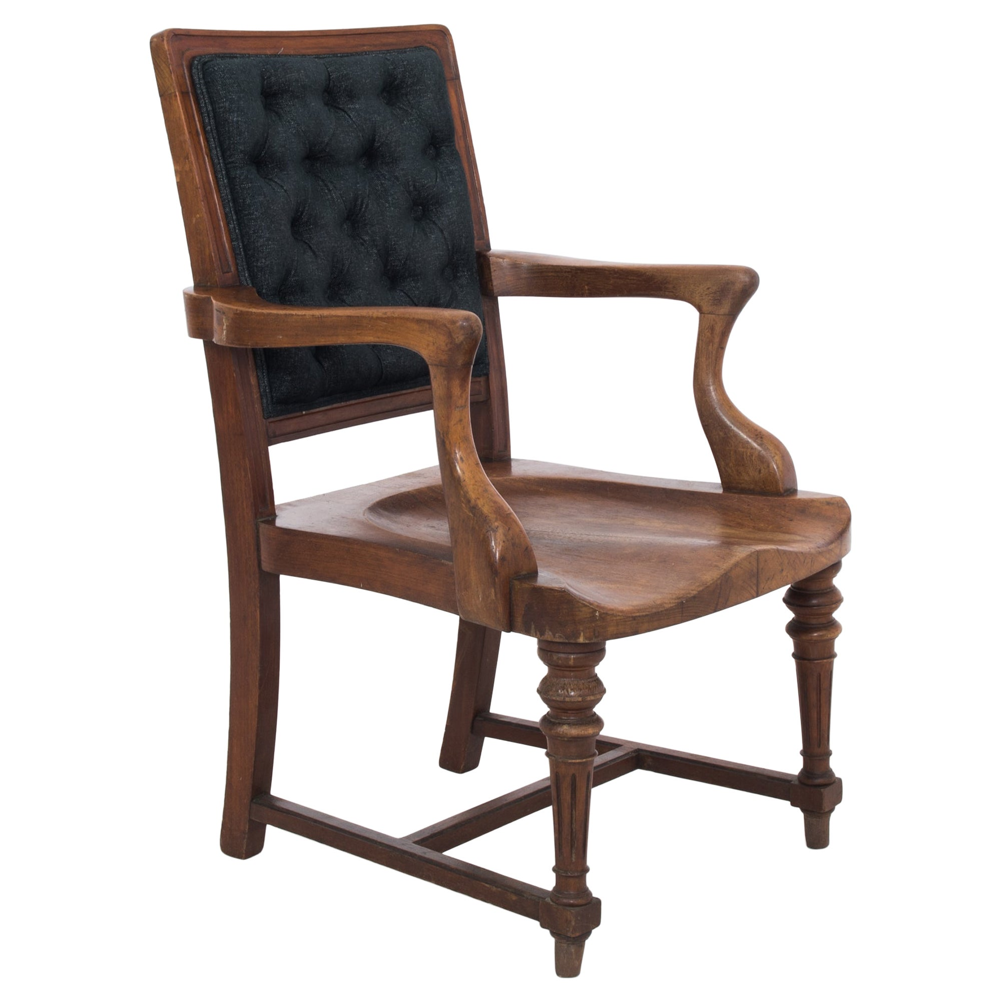 Antique British Wooden Armchair with Upholstered Back