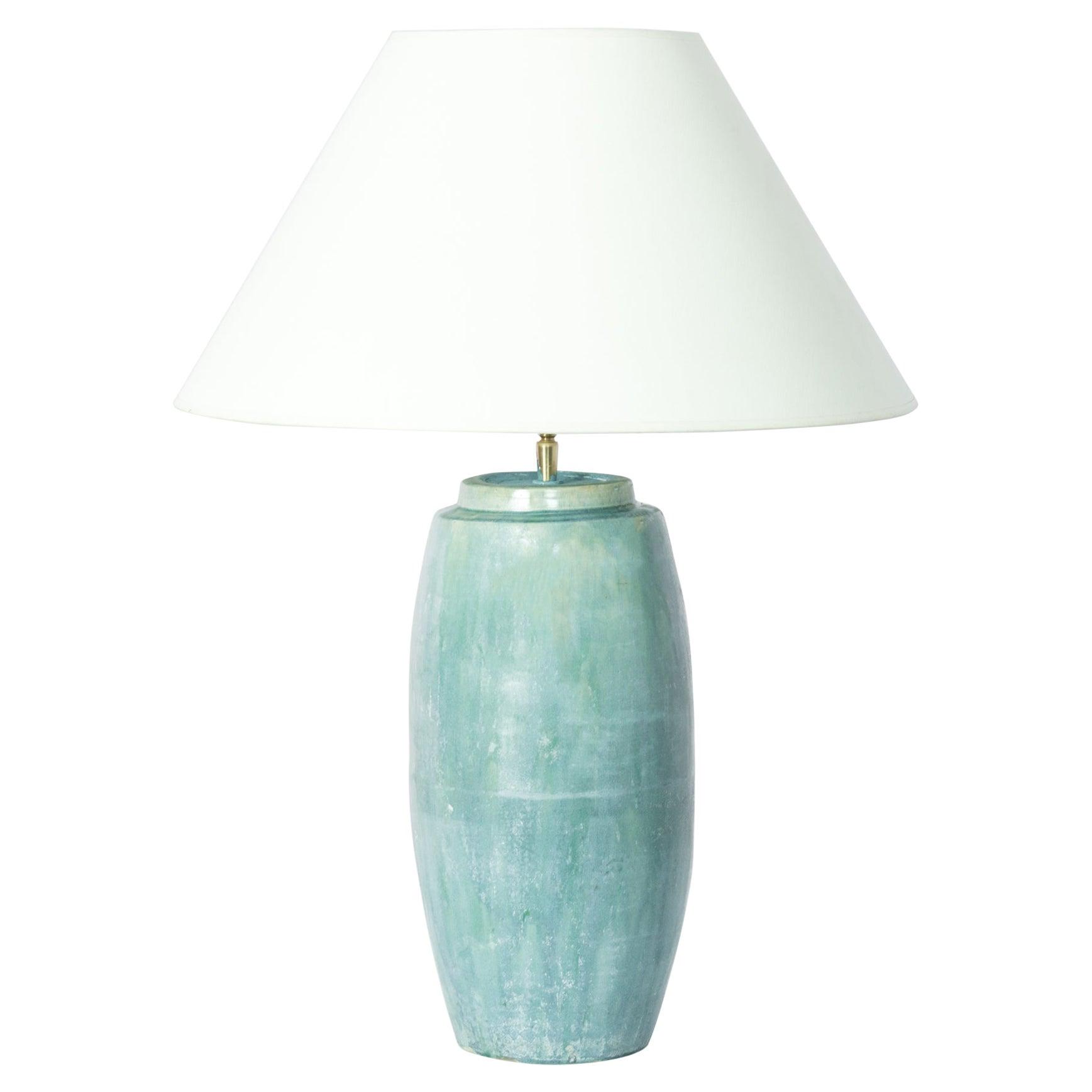 Vintage Chinese Celadon Ceramic Vase Table Lamp