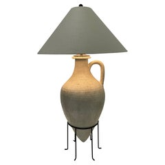 Earthy & Elegant Sculptural Pottery Grecian Style Urn Lamp on Stand