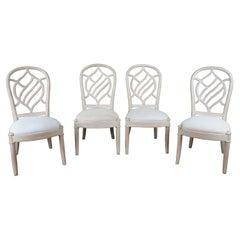 4 Vintage Henredon Pickled Oak Transitional Modern Side Dining Chairs