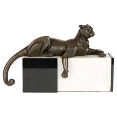Milo Art Deco Style Bronze Resting Panther on Marble Stand Sculpture