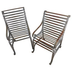 Pair of Antique 19thC Strap Iron Armchairs