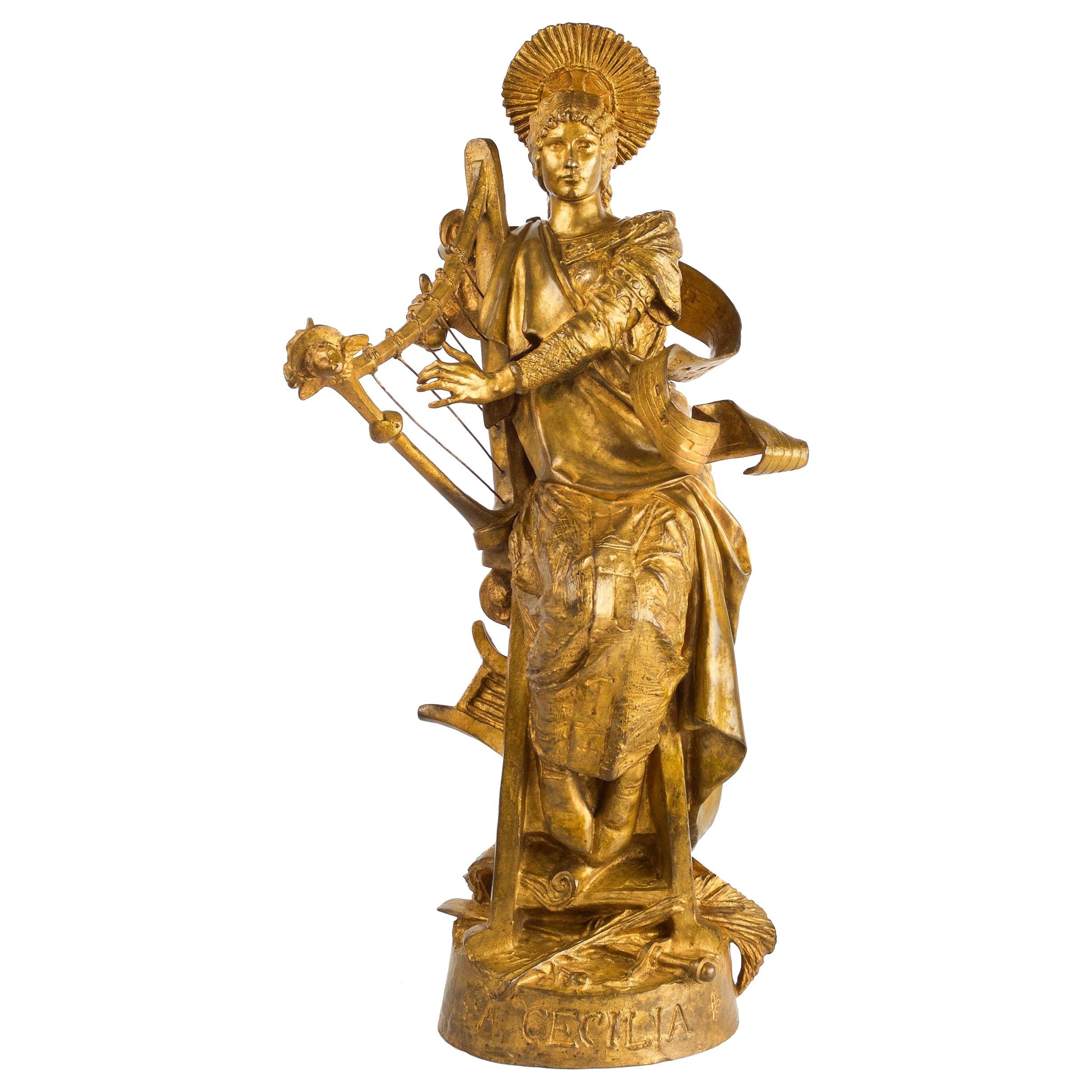 Rare French Antique Bronze Sculpture of St. Celicia by Emmanuel Fremiet