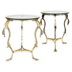 Pair of French Mid Century Hammered Bronze Swan Gueridon Glass Top Side Tables