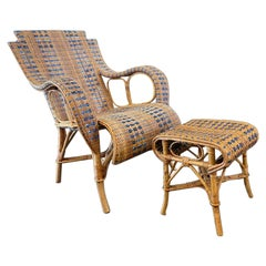 French Rattan Armchair with Ottoman, Art Nouveau