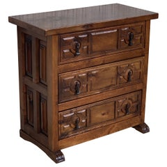 19th Century Catalan Spanish Carved Walnut Console or Night Table, Three Drawers