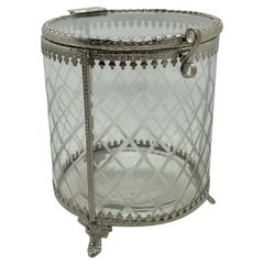 Antique German Glass and Filigree Silver Plated Box, 1900s