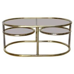 Space Age Vintage Golden Metal Glass Oval Coffee Table Sofa Table, 1960s, Italy
