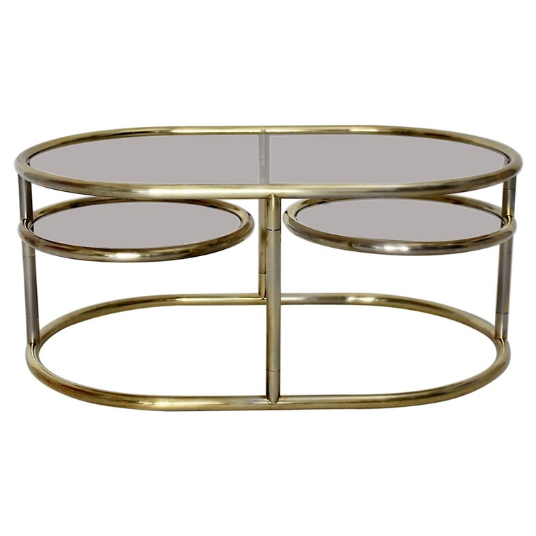 Space Age Vintage Golden Metal Glass Oval Coffee Table Sofa Table, 1960s, Italy For Sale