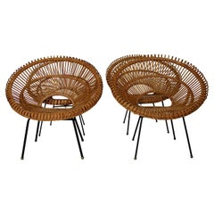 Mid-Century Modern Riviera Style Four Rattan Patio Lounge Chairs c 1960 France