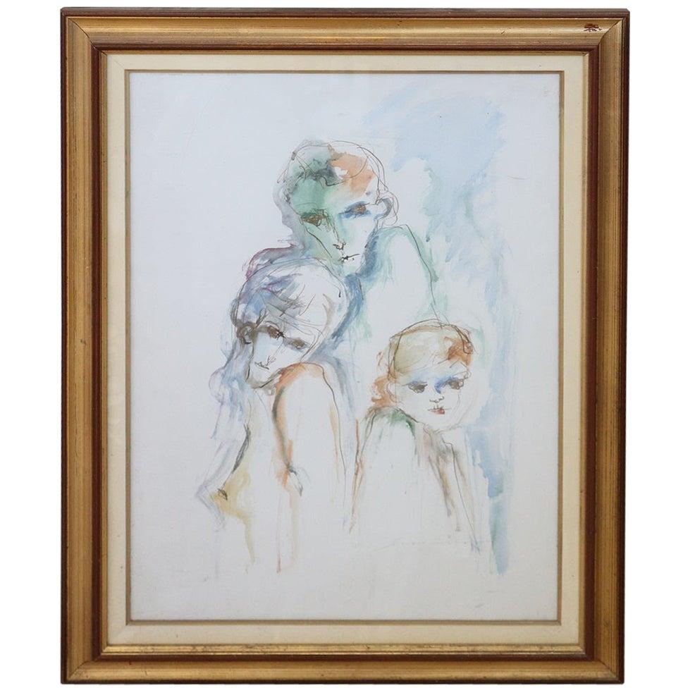 20th Century Italian Artist, Ernesto Treccani, Watercolor