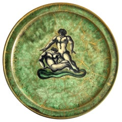 """""""Two Tritons,"""" Art Deco Plate w/ Mythological Figures in Green and Gold, Mayodon"""