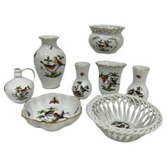 """Herend Hungary Porcelain """"Rothschild"""" Set of 8 Small Objects"""