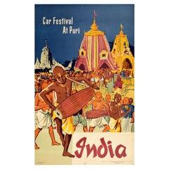 Original Vintage Poster Car Festival At Puri India Music Procession Hindu Temple