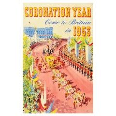 Original Vintage Travel Poster Coronation Year Come To Britain Queen Elizabeth