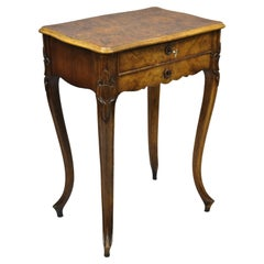 Antique French Louis XV Style Burlwood Two Drawer Nightstand Side End Table