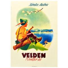Original Vintage Poster Velden Worther See Lake Sailing Golf Tennis Mountains