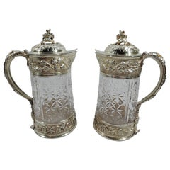 Pair of Antique Odiot Belle Epoque Silver Gilt & Cut-Glass Decanters