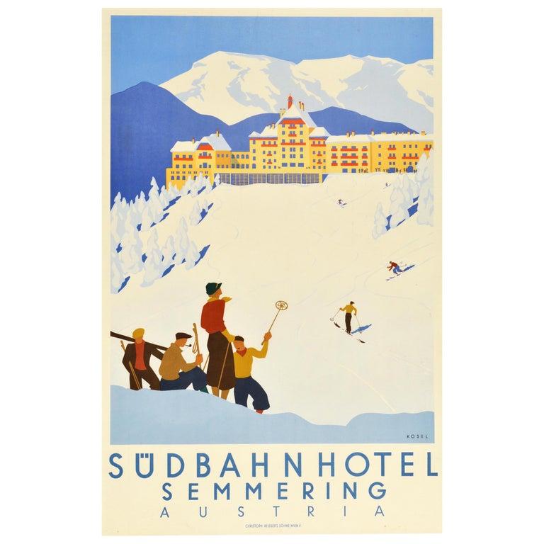 Original Vintage Poster Sudbahnhotel Semmering Austria Skiing Winter Sport Spa For Sale