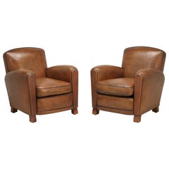 French Leather Club Chairs Thoroughly Restored
