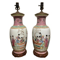 Pair Chinese Famille Rose Rouleau Vase Lamps
