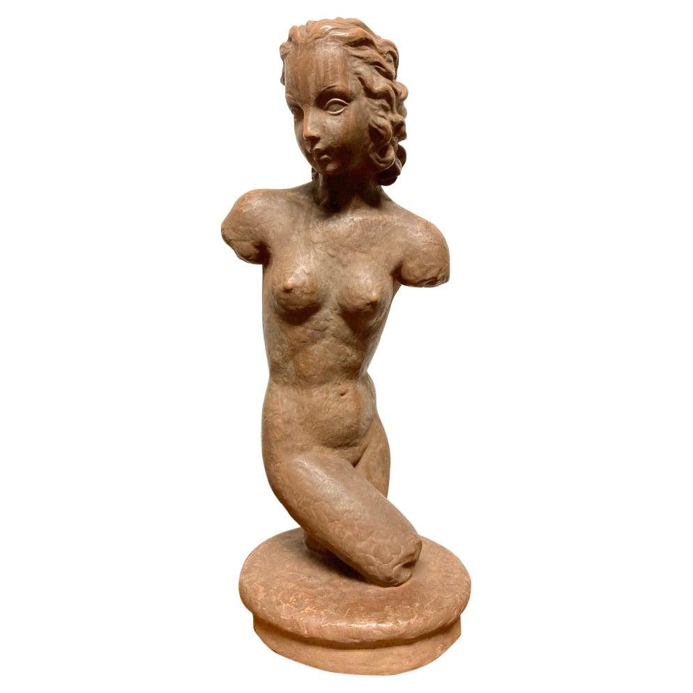 Terracotta Female Nude, Austrian Art Deco, Goldscheider, Vienna