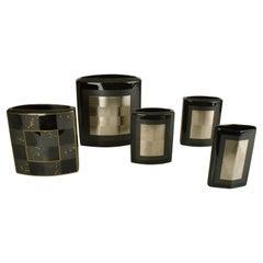 Set of Five Porcelain Black Studio-Line Vases Rosenthal by Dresler and Treyden